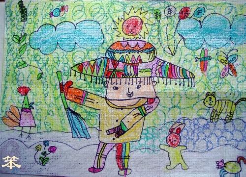 笨2005年的蜡笔画《新年快乐》   那时候,笨笨的太阳就是那样子的,